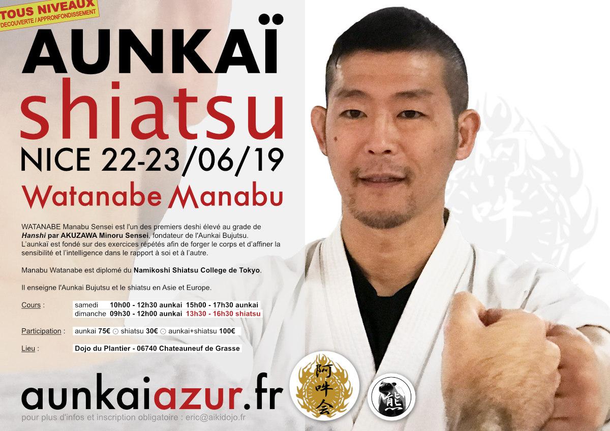 Manabu Watanabe in Nice 2019 - Aunkai & Shiatsu workshops